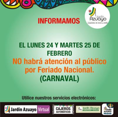 Feriado Carnaval - Utilice nuestros servicios virtuales