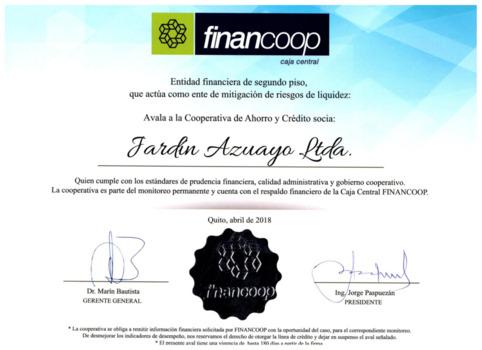 Recibimos el certificado de financoop