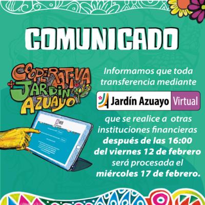 Comunicado transferencias - carnaval