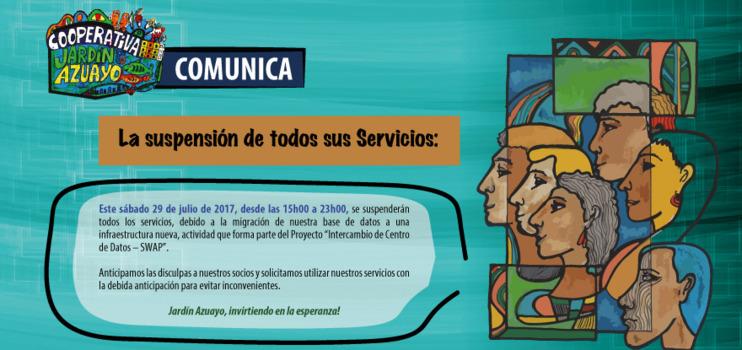 Mañana de 15h00 a 23h00, suspendemos todos nuestros servicios, por trabajos en nuestra base de datos.