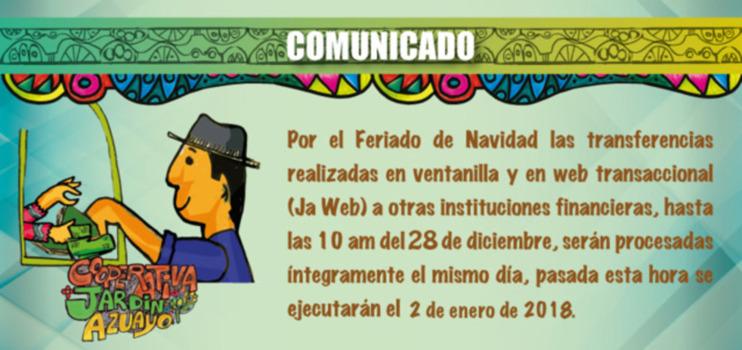 Comunicado - Transferencias por Feriado de Fin de Año