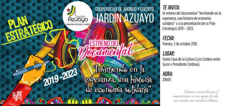 Jardín Azuayo invita al estreno de documental